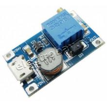 Преобразователь DC-DC MT3608+microUSB повышающий миниатюрный , вх. напр. 2-24 В, вых. напр.: 5-28 В, ток максимальный: 2 А